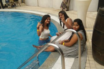 enjoying pool party
