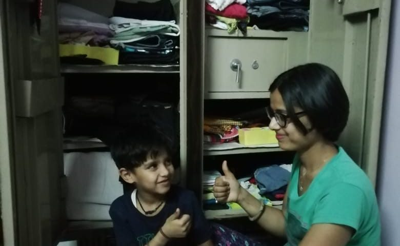 Wardrobe cleaning with son