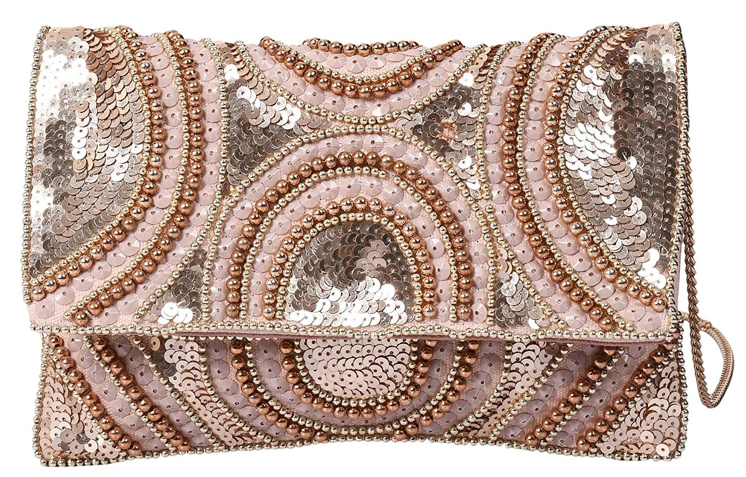 Women's Beige Color with Gold Tone embellished Beaded Clutch