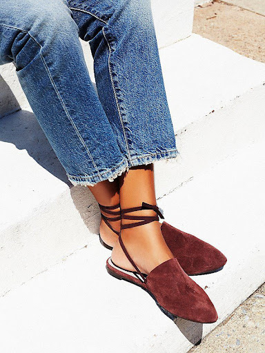 flat mules with high-waist trousers